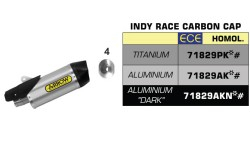Silencieux Indy Race alu avec embout en carbone Arrow R1 17/19