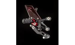 Commandes reculées réglables/repliables LIGHTECH Racing sélection standard et inversée noir/rouge MV